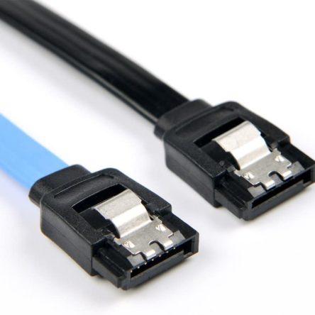 Cable Sata 3 Cable, Câble SATA III 6.0Gbps Câbles SATAavec Loquet de Verrouillage, Noir OU Bleu; 15.7 Pouces/40 CM