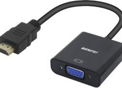 Adaptateur HDMI vers VGA, HDMI vers VGA (mâle vers Femelle) pour Ordinateur, Bureau, Ordinateur Portable, PC, Moniteur, projecteur, HDTV, Chromebook, Raspberry Pi, Roku, Xbox et Plus – Noir